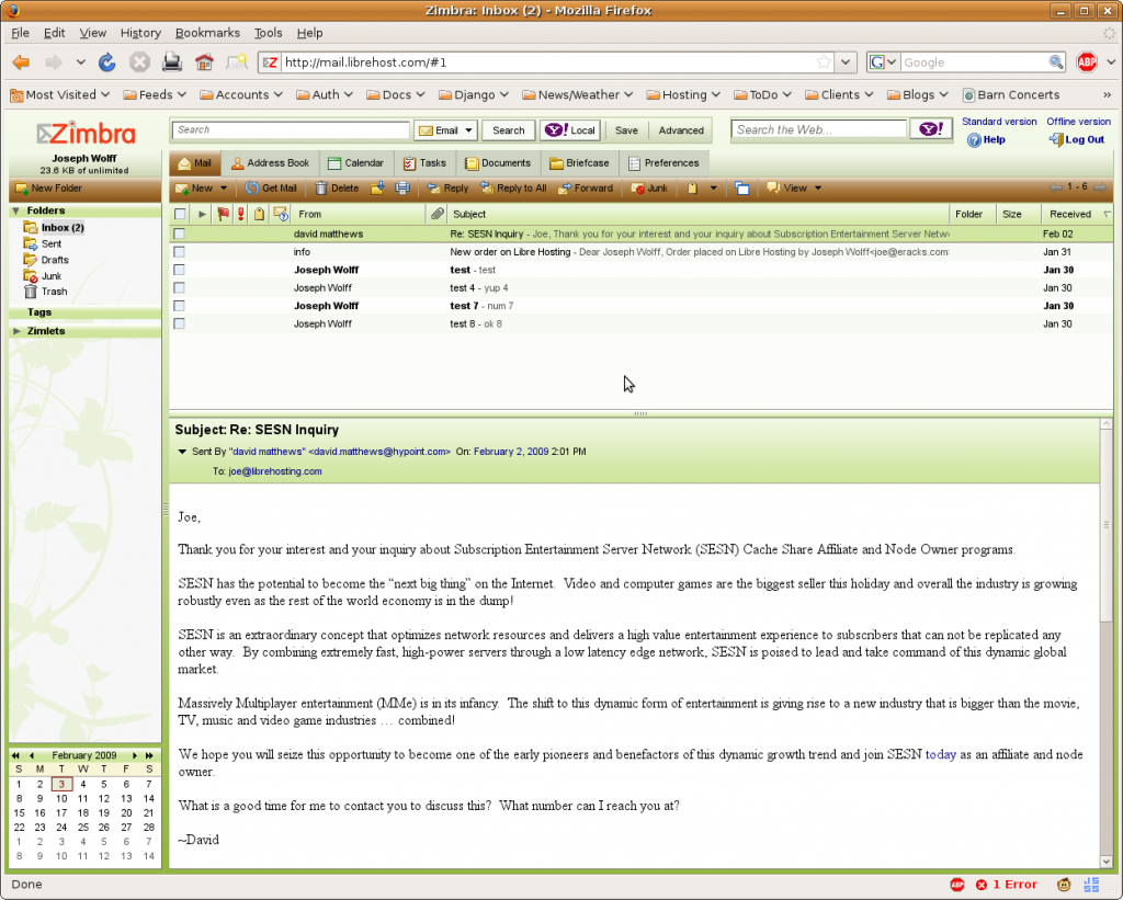 Zimbra 5.0.12 Screenshot