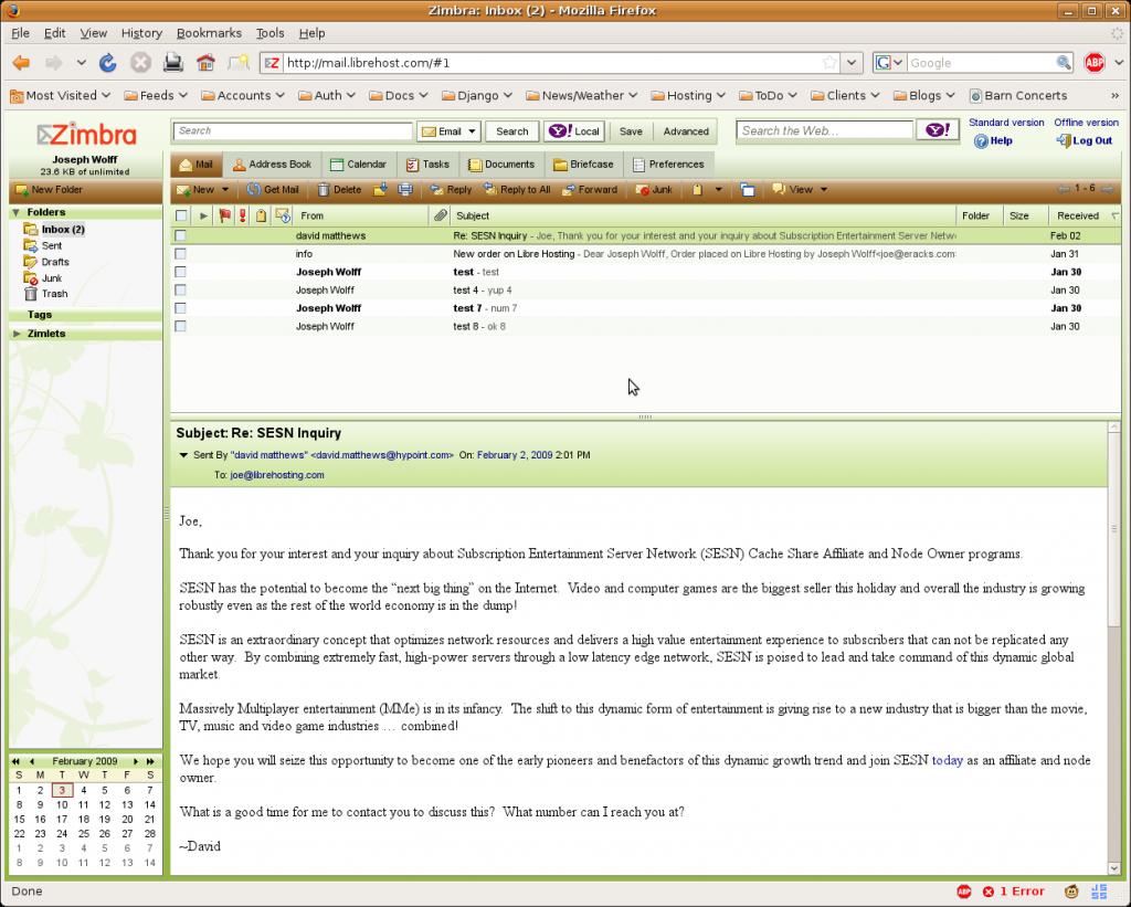 Zimbra 5.0.12 Screenshot